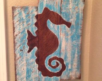 Rustic Seahorse Wall Art