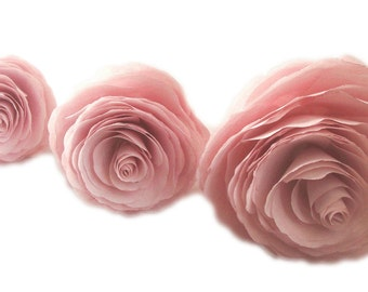 Paper flowers, Blush paper Peonies, 3 sizes available, Peonies in your choice of colors, Home decor flowers, Baby shower decor, Faux flowers