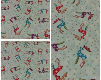 Christmas Fabric, Hanukkah Fabric, Xmas Fabric, Tossed Reindeer/Snowflakes, Decorative Fabric, Quilting/Diy/Craft Supplies/Sewing Supplies