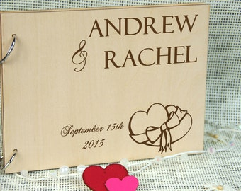 Custom Unique Wedding Anniversary Bridal shower guest book, Personalized gift for couple, Memory album, Laser engraved, Rustic wedding decor