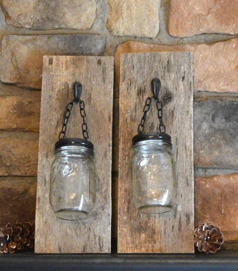 Mason Jar Sconce barn wood wall hanging mason jar tea light