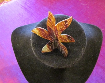 Vintage Faux Tortoise Leaf Brooch