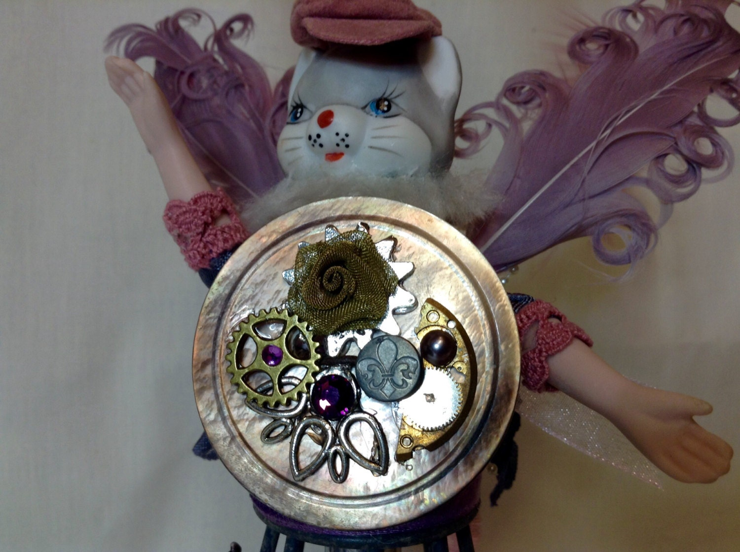 The Cat's Meow! An angelic marriage of steampunk and mixed media art! Created on a good day, with a great glass of red wine! steampunk buy now online