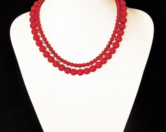 Double string red coral choker necklace