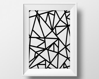 Geometric mosaic printable wall art, printable black and white design poster, modern art print, minimalistic art print modern poster mosaic