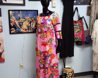 Psychedelic! Kiyomi Hawaii maxi dress vintage 1970 for women