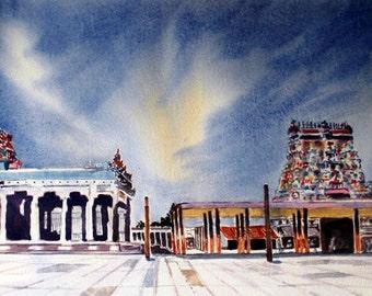 Nataraja Temple, Chidambaram, Tamilnadu, India, Watercolor Painting, 25 cm x 51 cm