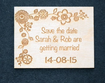 Engraved Wood Save the Date magnet.