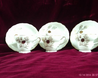 Set of 3 Vintage Tea Cups and Saucers Pinecone Design 1960's
