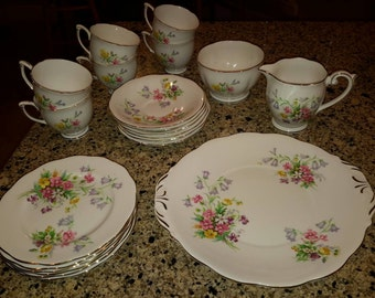 Queen Anne Dessert Set for 6 -  1950s Fine Bone China made in England