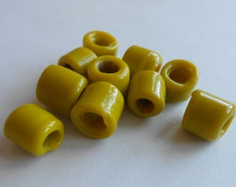 Yellow, Ceramic, Beads, Large, Hole, Beading, Jewelry Making