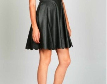 Black Faux Leather A-Line Dress - Now Only available in Small