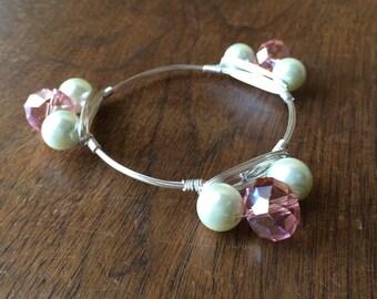 Pearl and glass beaded bangle