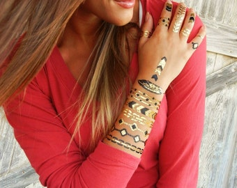 Hipster Temporary Tattoo Sleeve, Stacked Bracelets Temporary TATTOO SLEEVE, Hipster Metallic Tattoos, Hipster Temporary Tattoo Tattoo SLEEVE