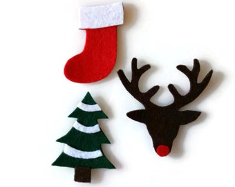 Small Christmas Iron On Patch Set of 3 - No Sew - Felt