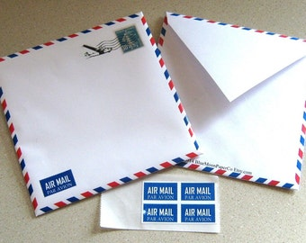 Square Air Mail Envelope/CD/DVD sleeve & stickers - Digital Download