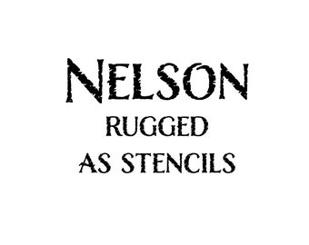Nelson Rugged upper and lower case letters with numbers and phrases on (3) 8.5x11-inch Stencil Sheets