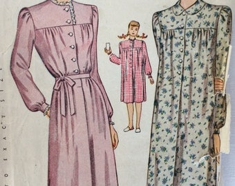 Simplicity 1402 woman's nightgown bust 40 vintage 1940's sewing pattern