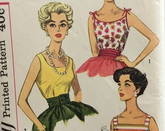 Simplicity 3021 vintage 1950's woman's blouse sewing pattern size 12 bust 32