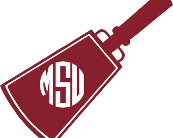Mississippi State Cowbell Monogram Sticker ~  Custom Decal ~ Bulldogs