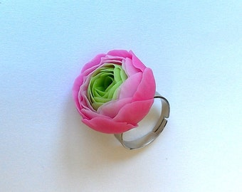 """Ring """"Ranunculus""""- Pink ranunculus ring - Pink flower jewelry-Clay flower ring-Floral ring-Porcelain flowers- Clay jewelry"""