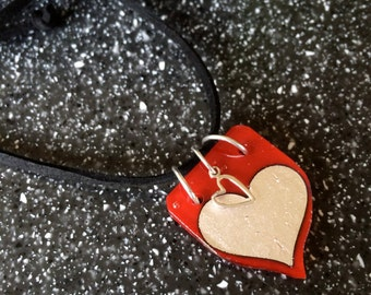 Fused in Glass Silver Foil Heart and Sterling Silver Necklace 5