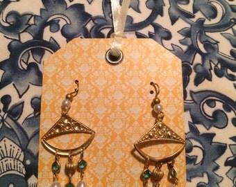 Pearl & Blue Golden Dangling Pierced Earrings