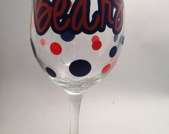 Chicago Bears Wine Glass