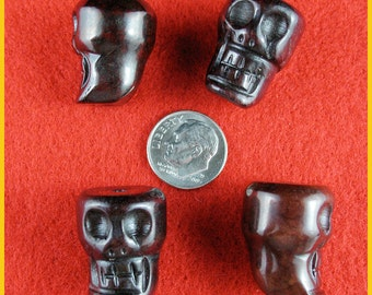 Red Xiu-Jade Skull Beads - Lot of 3