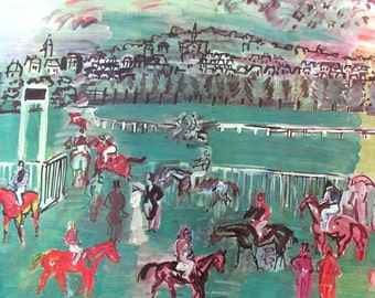 Vintage art print litho poster NOS The Race Track 1928 R. Dufy horse equestrian race