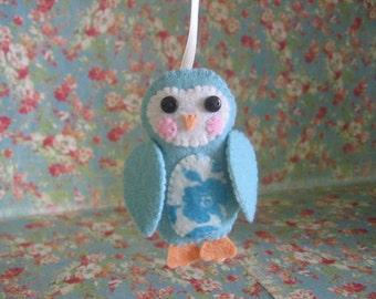 Decorative Owl Ornament, Aqua/Floral, Large