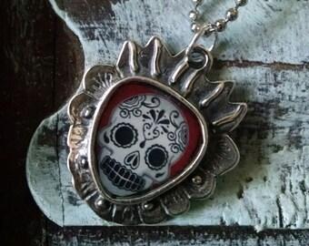 Dia De Los Muertos Sacred Heart Pendant