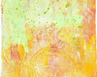 """yellow green rabbit monoprint original print original art """"vanishing"""""""