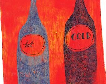 """blue red bottles monoprint original print original art """"running"""""""