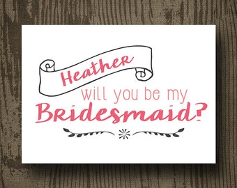 Will You Be My Bridesmaid Printable - Engagement Printable -  Bridesmaid Printable