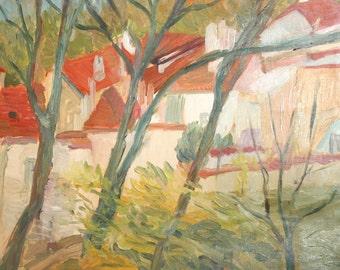 Oil painting forest landscape village