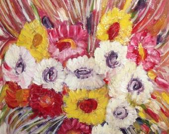 Oil painting vintage floral still life flowers