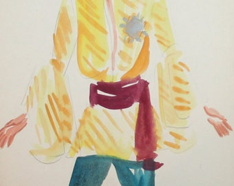 1974 Theatre costume design wc painting man signed