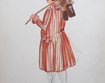 Vintage watercolor man theater costume painting signed