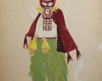 1961 gouache abstract theater costume vintage drawing signed