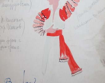 1964 gouache dancing dress theater costume drawing signed