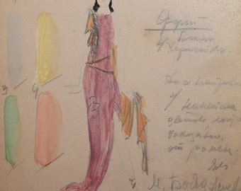 Vintage watercolor pencil woman theater costume painting signed