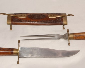 Personal Cutlery Set, Hand carved and Made in India, Knife, Fork, Scabbord