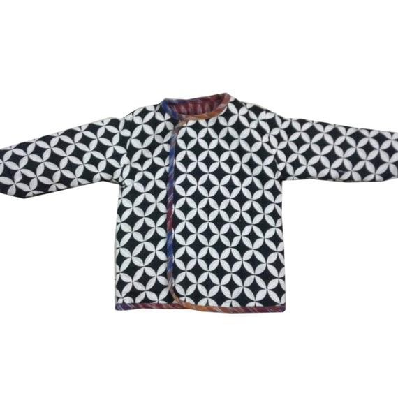 Handmade cotton quilted reversible jacket (kids) - Unisex (Rainbow Ikat & Black/White geometric) Bohemian Chic Hipster Childrens Clothing