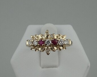 Dainty Diamond and Ruby Floral Design 14K Gold Ring #RDSPRAY-GR4