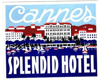 Genuine 1930s-'50s Original, Unused, Luggage, Steamer Trunk, Label Splendid Hotel, Cannes