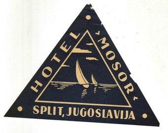 1930s Genuine Original Unused Luggage Steamer Trunk Label: Hotel Mosor, Split, Yugoslavia