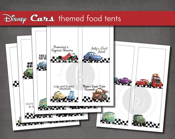Disney Cars themed party food label tent cards printable file Instant Digital Download  sc 1 st  Etsy & Disney Cars themed party food label tent cards printable