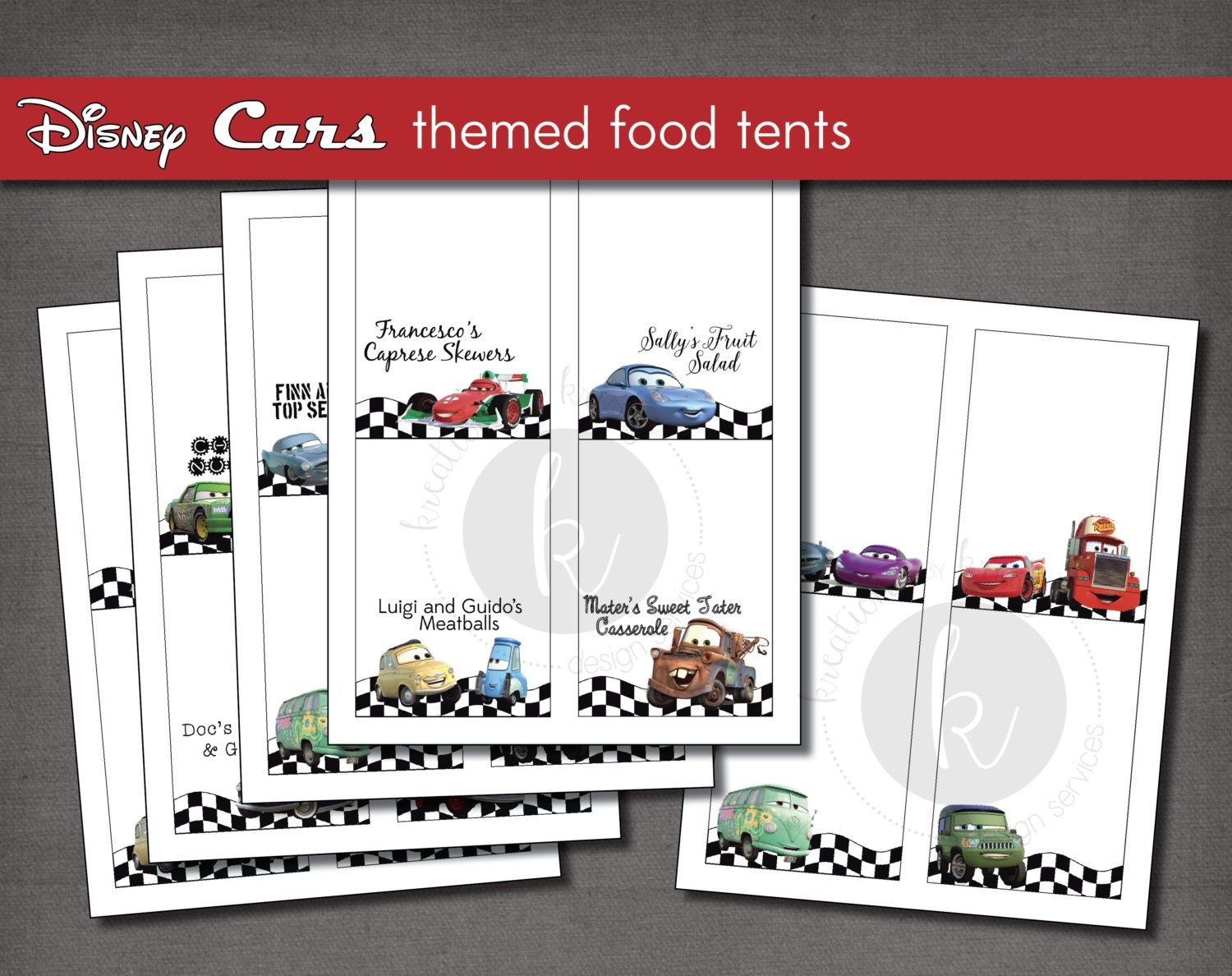 disney cars themed party food label tent cards printable
