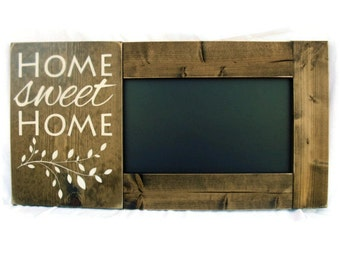 Framed Chalkboard Large Rustic Wood Gift Kitchen Wall Decor - Home Sweet Home (#1098-CB)